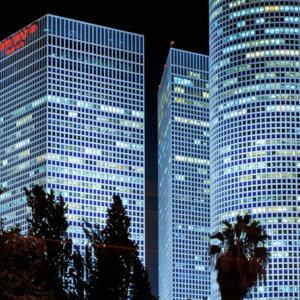 Skyscrapers at night in Tel Aviv